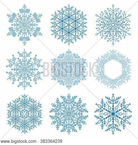 Set Of Vector Snowflakes. Fine Winter Ornaments. Snowflakes Collection. Blue Snowflakes For Backgrou