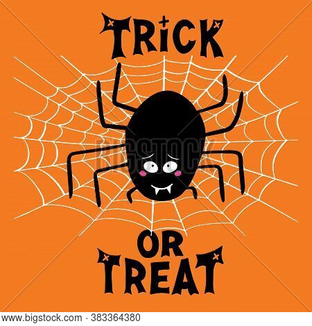 Halloween Greeting Card. Cute Cartoon Black Spider With Guilty Look, White Cobweb And Trick Or Treat