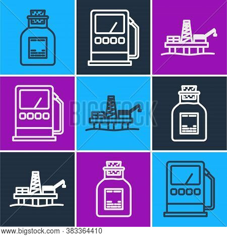 Set Line Oil Petrol Test Tube, Oil Platform In The Sea And Petrol Or Gas Station Icon. Vector