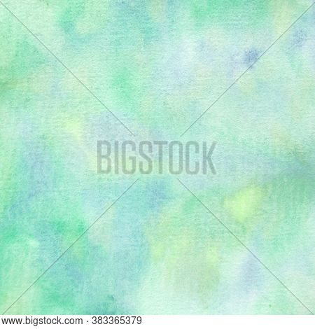 Green Abstract Watercolor Background Handpainted With Small Amounts Of Blue And Yellow In 12x12 Desi