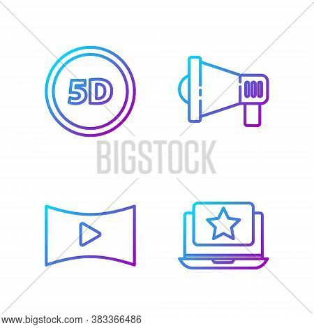 Set Line Laptop With Star, Online Play Video, 5d Virtual Reality And Megaphone. Gradient Color Icons