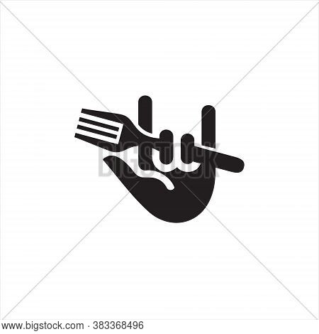 Culinary Logo Simple Black Fun Fork Hand, Icon Food And Drink Vector Design Template Idea
