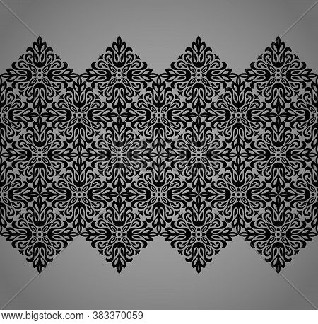 Wallpaper In The Style Of Baroque. Seamless Vector Background. Black And Gray Floral Ornament. Graph