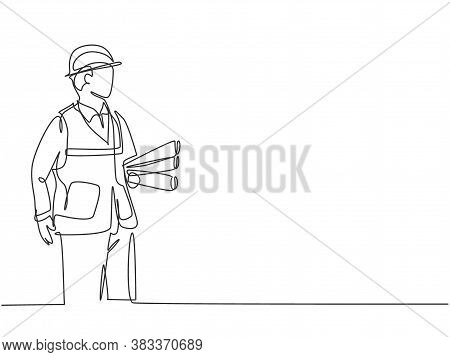 One Continuous Line Drawing Of Young Architect Holding Roll Papers Of Draft Sketch Blueprint Design.