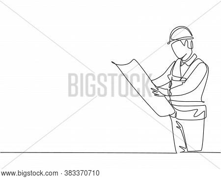 Single Continuous Line Drawing Of Young Attractive Architect Checking Sketch Building Architecture B