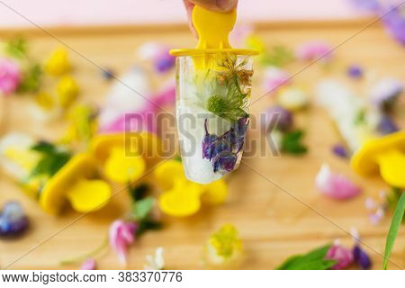 Hand Holding Floral Ice Pop With Summer Wildflowers On Background Of Ice Cubes And Fresh Summer Flow