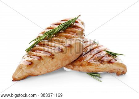 Tasty Grilled Chicken Fillets And Rosemary Isolated On White