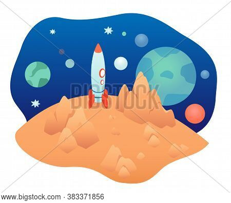 Outer Space With Rocket Spaceship On Plant Or Moon Surface. Vector Solar System, Universe. Cosmos Ex