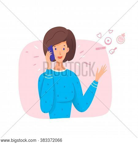 Woman Talk On Smartphone. Best Friend Have Cosmetic Discussion On Mobile Phone. Communication, Gossi