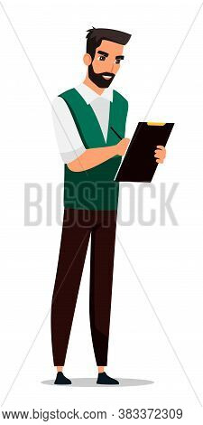 Bearded Man Instructor Making Note, Writing On Paper Document, Exam Checkup List. Young Character Wi