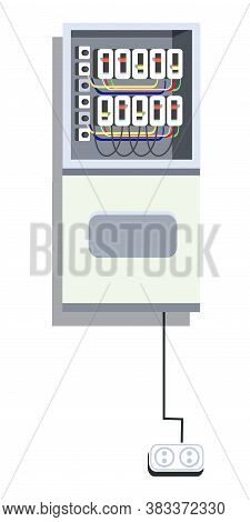 Electrical Panel With Switcher, Fuse, Contactor, Wire, Automatic Circuit Breaker Isolated On White B