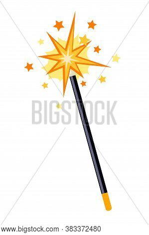 Decorative Sparkling Magic Wand Isolated On White Background. Star Shape Magic Accessory For Wizard