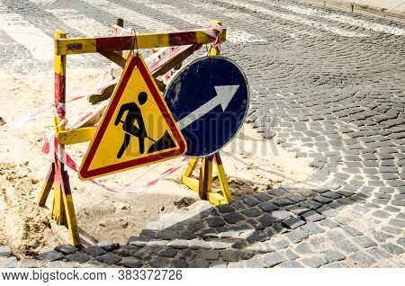 Road Marking On The Road, Warning Signs With Copy Space. Direction Of Detour And Sign Roadworks. Roa