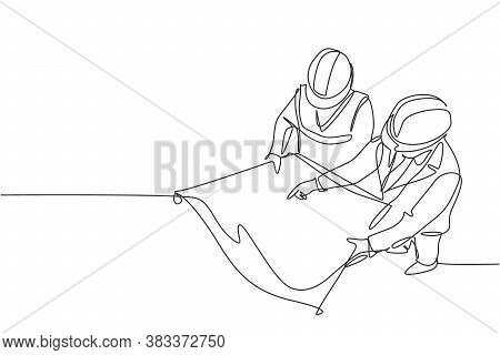 Single Continuous Line Drawing Of Young Company Manager Do Quality Control To Sketch Draft Blueprint