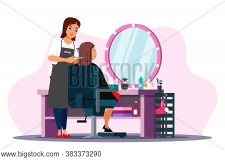 Beauty Salon Scene. Professional Hairdresser Cuts Woman Client. Stylist Makes Stylish Haircut, Styli