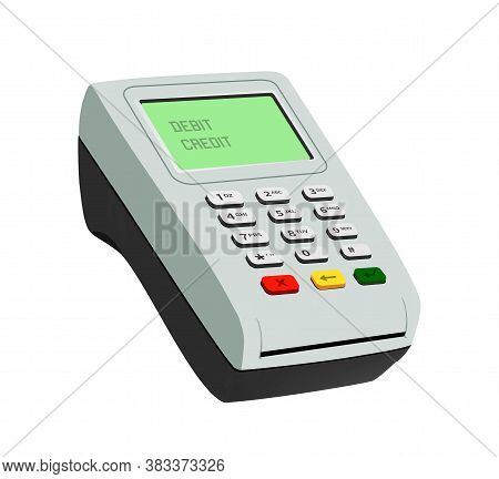 Pos Terminal Closeup Isolated Object. Design Template Of Payment Machine. Service For Purchases In S
