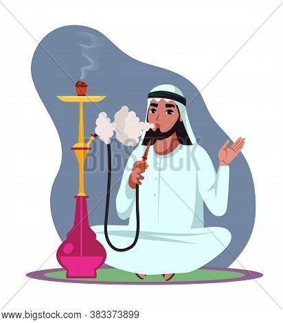 Arab Man Smoke Hookah Pipe, Exhale Thick White Smoke And Sitting On Floor. Guy Relax And Spend Time