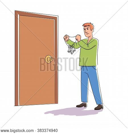 Vector Handsome Confused Thoughtful Pensive Man Character Choosing Key From Door Lock With Keyhole S