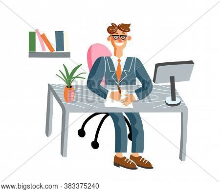 Office Worker Flat Vector Illustration. Smiling Employee In Private Office Cartoon Character. Middle