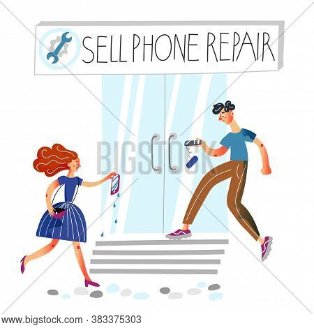 Man And Woman With Broken Cellphone. People Hurrying To Mobile Electronics Repair Service. Vector Cu