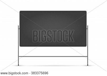 Blank Blackboard. Isolated Empty School Chalk Black Board On Stand. Vector Blank Blackboard Frame Wi