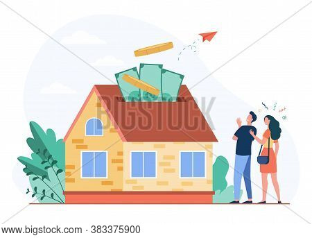 Happy Couple Investing Money In Property Flat Vector Illustration. Cartoon Characters Taking Bank Cr