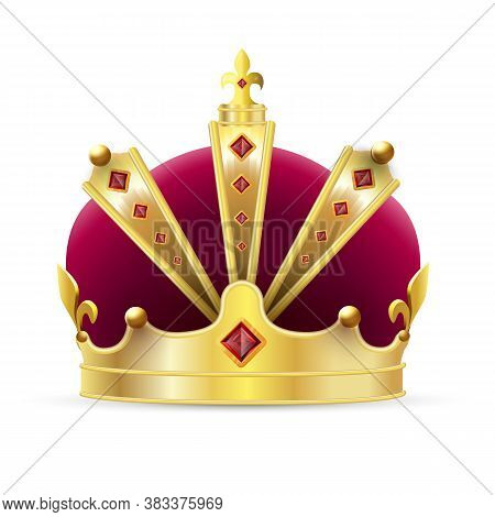 Imperial Crown. Isolated Realistic Imperial Gold Crown With Red Velvet And Ruby Jewels Icon. Vector