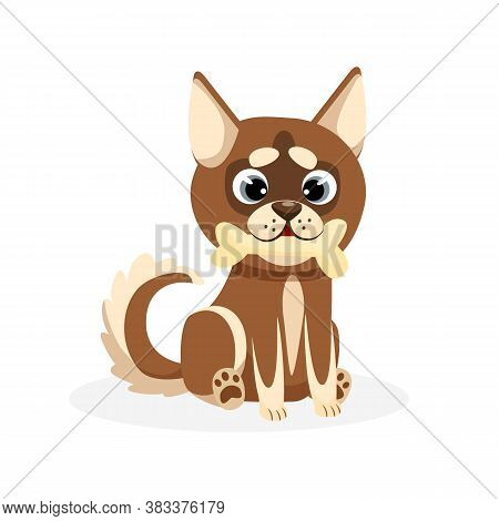 Husky Puppy. Isolated Playful Purebred Brown Husky Dog Puppy Icon. Cute Cartoon Doggy Pet Animal Cha