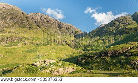 Scenic View Of Glen Coe Mountains, Scottish Highlands, Uk. Tranquil Scene Of Beautiful Nature, Ravin