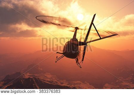 Civilian helicopter on a background an landscape ,3d render