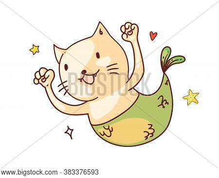 Cat With Mermaid Tail. Isolated Funny Happy Mermaid Cat Fish With Tail Cartoon Character Sketch Draw
