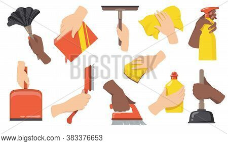 Hands Holding Cleaning Tools Flat Illustration Set. Cartoon Arms With Broom, Brush, Scoop, Bottle An