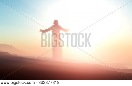 Silhouette of a man in a fog.3d render