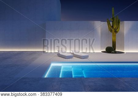 A luxury modern backyard with a swimming pool, 3d rendering