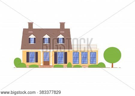 Countryside Home. Private Countryside House With Terrace And Mansard Icon. Home Apartment Isolated O