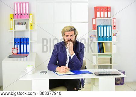 Making Business Decision. Business Solutions. Man Bearded Boss. Raising Standards. Stock Market. Off