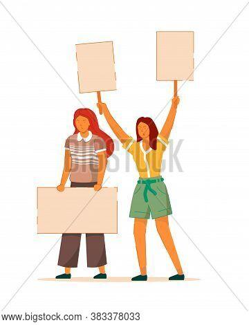 Female Movement. Two Woman Empowerment, Feminist Demonstration. Vector Protesting For Feminine Polit