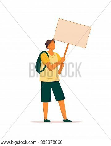 Student Activist. Vector Young Man Protester On Street Demonstration. Teenage Student Activist With
