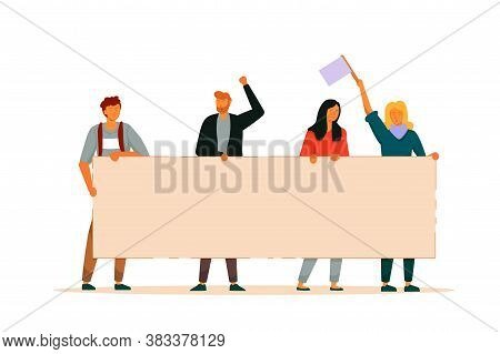 People Activist. Man And Woman Group Holding Big Blank Protest Banner Manifestation Together. Vector