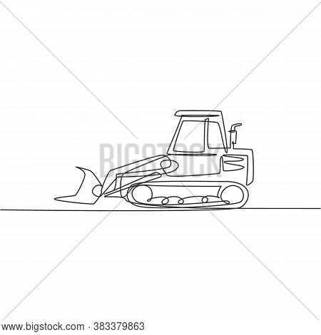 Single Continuous Line Drawing Of Bulldozer For Road Repair, Business Commercial Vehicle. Heavy Back