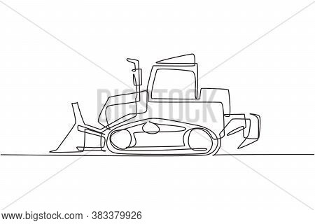 Single Continuous Line Drawing Of Bulldozer For Paving The Road, Commercial Vehicle. Heavy Backhoe C
