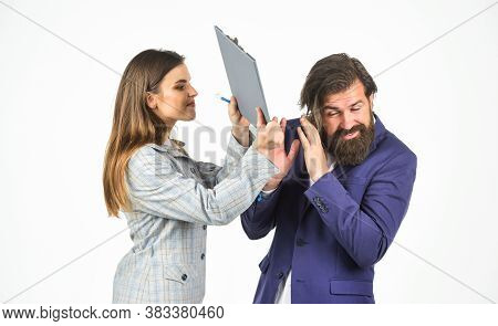 Risky Contract. Man And Woman With Office Document Folder. Business Concept. Communication At Work.