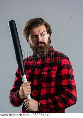 Street Hooligan With Bat. Man Reliving Stress. Emotion Control Concept. Brutal Bearded Man Using Bas