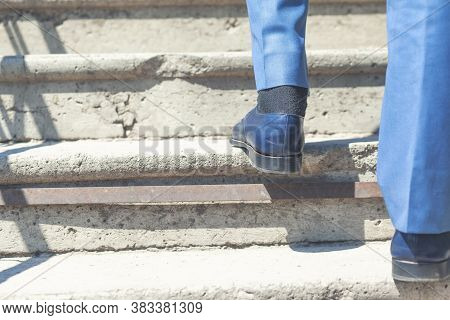 Close Up Legs Shoes Of Young Business Man One Person Walking Stepping Going Up The Stairs In Modern
