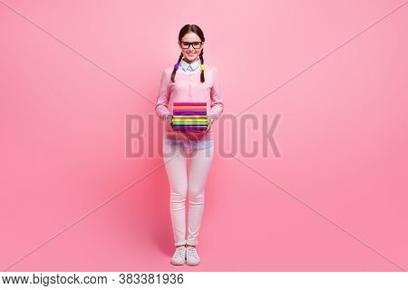 Full Length Photo Of Attractive Student Lady Two Braids Hold Many Books Diligent Pupil Visit Library