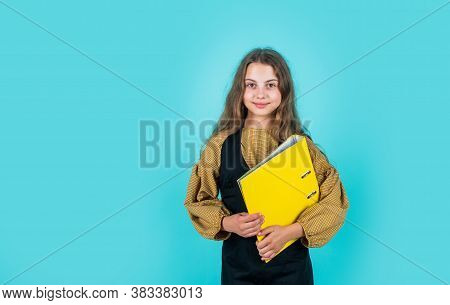 Teen Girl Hold Folder With Documents. Back To School. Kid Presenting Project. Child Is Working With