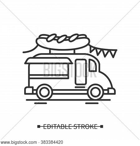 Hotdog Truck Icon. Street Food Truck With Fair Or Festival Decorations Linear Pictogram. Concept Of
