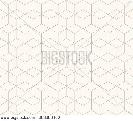 Abstract Geometric Seamless Pattern. Simple Abstract Rhombs Pattern. Gray Green Lines On Light Backg