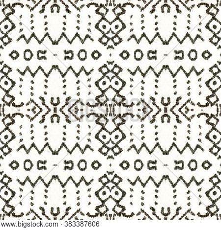 Watercolor Geometric Background. Black And Whitee Seamless Texture. Abstract Ikat Design. Repeat Tie