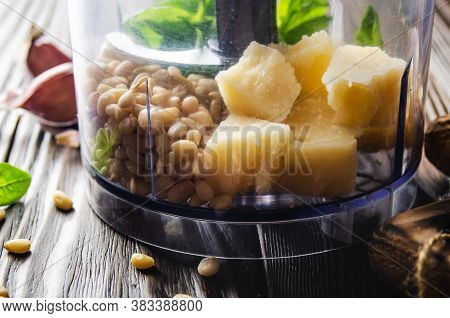 Ingredients For Italian National Traditional Genovese Pesto Sauce In Food Processor Bowl